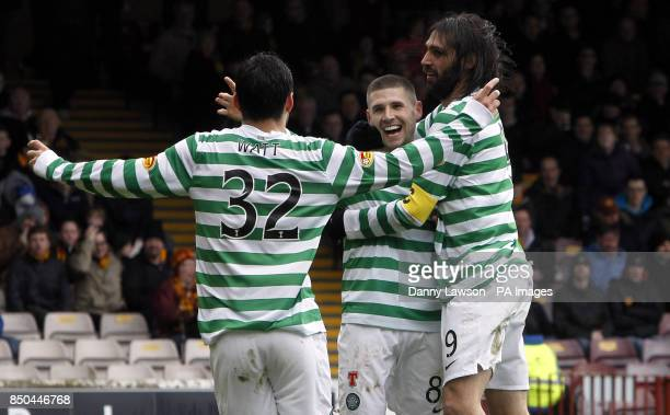 Celtic's Gary Hooper celebrates his goal with teammates Tony Watt and Celtic's Georgios Samaras during the Clydesdale Bank Scottish Premier League...
