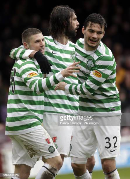 Celtic's Gary Hooper celebrates his goal with teammates Tony Watt and Georgios Samaras during the Clydesdale Bank Scottish Premier League match at...
