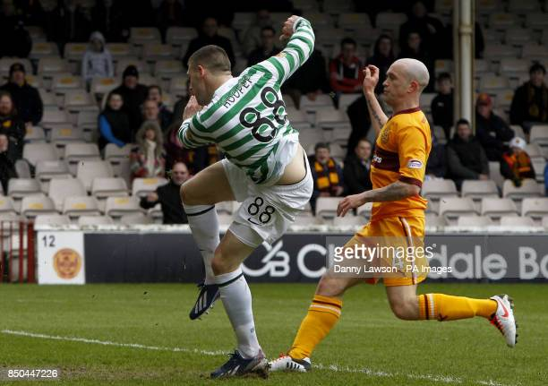 Celtic's Gary Hooper scores a goal during the Clydesdale Bank Scottish Premier League match at Fir Park Motherwell