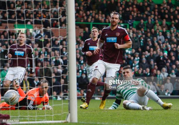 Celtic's Gary Hooper scores his sides first goal during the Clydesdale Bank Scottish Premier League match at Celtic Park Glasgow