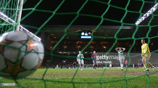 Celtic's goalkeeper Artur Boruc watches the ball hit the back of the net as a goal is scored by Thierry Henry of Barcelona during the UEFA Champions...