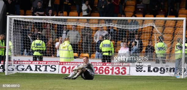 Celtic's goalkeeper Rab Douglas looks devastated at losing