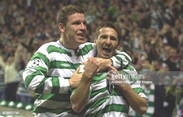 Celtic's goalscorer Liam Miller celebrates with Alan Thompson after scoring against Olympique Lyonnais during their Champions League Group A Match at...