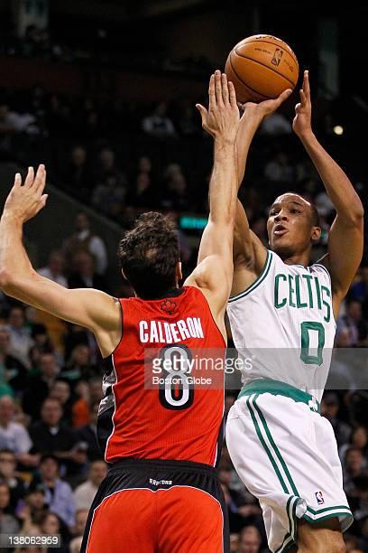 Celtics guard Avery Bradley hits a jumper over Raptors guard Jose Calderon in the 1st quarter The Boston Celtics play the Toronto Raptors at the TD...