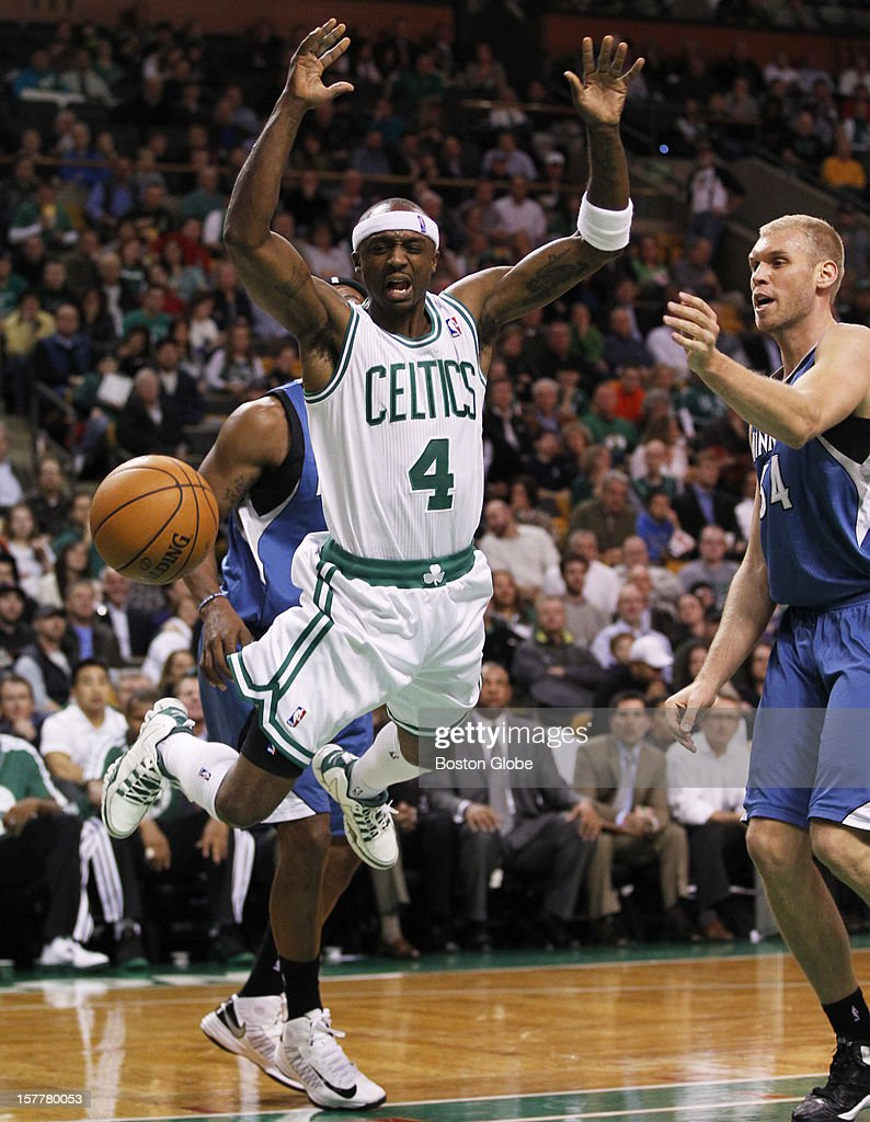 Celtics guard Jason Terry (#4) is stripped of the ball while driving to the hoop in the second quarter as the Boston Celtics play the Minnesota Timberwolves during a regular season NBA game at the TD Garden in Boston, Mass. on Wednesday, Dec. 5, 2012.