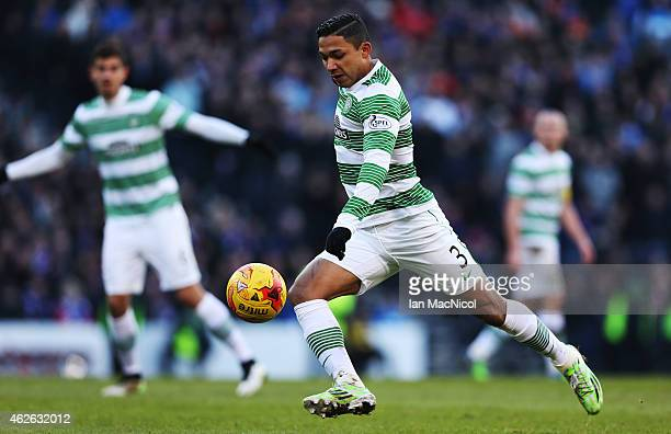 Celtic's Honduran defender Emilio Izaguirre controls the ball during the Scottish League Cup Semi-Final football match between Celtic and Rangers at...