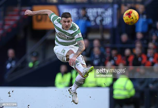 Celtic's Irish forward Anthony Stokes shoots at goal during the Scottish League Cup SemiFinal football match between Celtic and Rangers at Hampden...