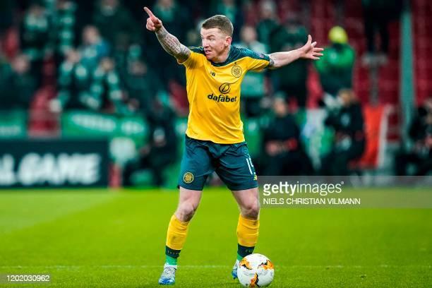 Celtic's Irish midfielder Jonny Hayes gestures during the Europa League last 32 first leg football match between FC Copenhagen and Celtic in...