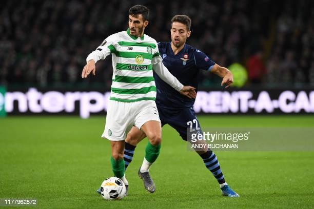 Celtic's Israeli defender Hatem Abd Elhamed vies with Lazio's Spanish midfielder Jony during the UEFA Europa League group E football match between...