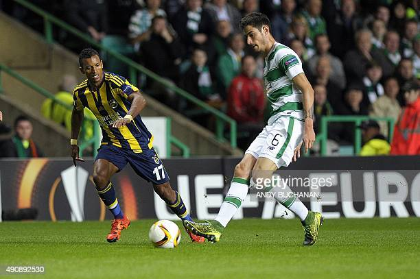Celtic's Israeli midfielder Nir Bitton vies with Fenerbahce's Portuguese midfielder Nani during UEFA Europa League group A football match between...