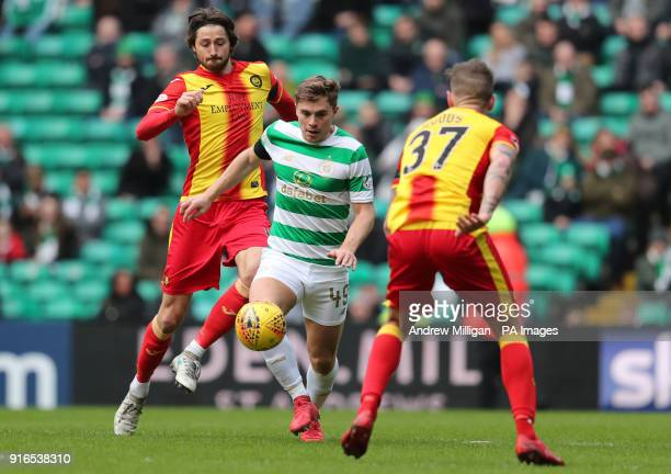 Celtic's James Forrest and Partick Thistle's Adam Barton during the William Hill Scottish Cup fifth round match at Celtic Park Glasgow