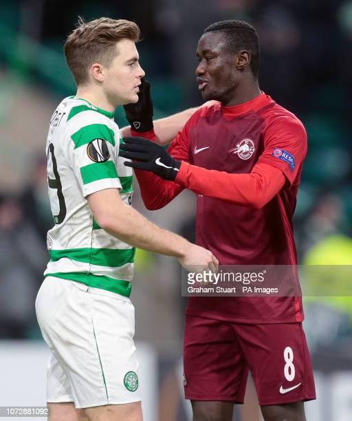 Celtic's James Forrest and Salzburg's Diadie Samassekou shake hands after the UEFA Europa League Group B match at Celtic Park Glasgow