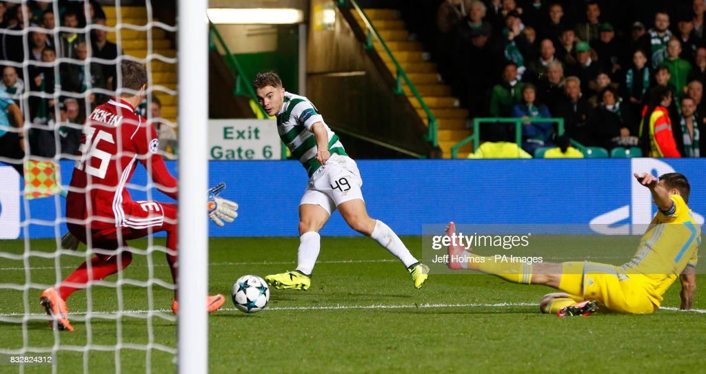Celtic's James Forrest scores his side's fourth goal of the game during the UEFA Champions League Play-Off, First Leg match at Celtic Park, Glasgow.