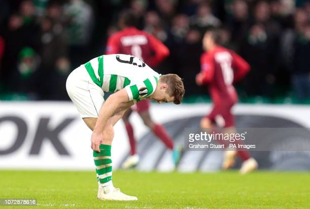 Celtic's James Forrest stands dejected after Salzburg score their first goal during the UEFA Europa League Group B match at Celtic Park Glasgow