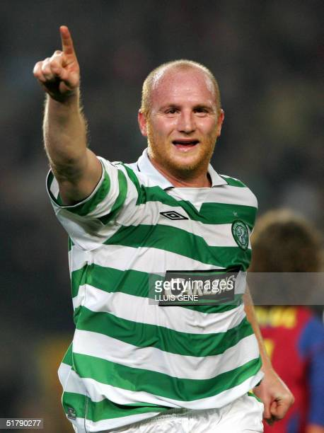 Celtic's John Hartson celebrates his first goal against FC Barcelona during their Champions League football match at the Camp Nou stadium in...