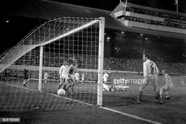 Celtic's John Hughes heads his team's equalizing goal from a corner watched by teammate Jimmy Johnstone and Leeds United's Paul Madeley Gary Sprake...