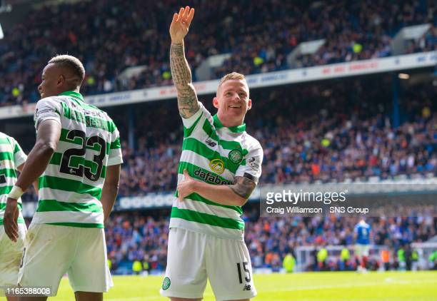 Celtic's Jonny Hayes celebrates his winner during the Ladbrokes Premier match between Rangers and Celtic at Ibrox Stadium, on September 1 in Glasgow,...