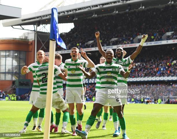 Celtic's Jonny Hayes celebrates his winner with teammates during the Ladbrokes Premier match between Rangers and Celtic at Ibrox Stadium, on...