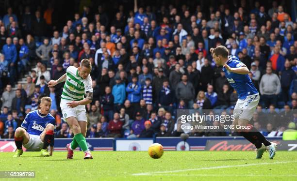 Celtic's Jonny Hayes makes it 2-0 during the Ladbrokes Premier match between Rangers and Celtic at Ibrox Stadium, on September 1 in Glasgow, Scotland.