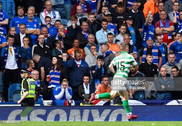 Celtic's Jonny Hayes wheels away after his goal during the Ladbrokes Premier match between Rangers and Celtic at Ibrox Stadium, on September 1 in...
