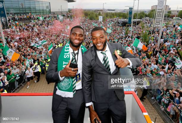 Celtic's Jules Olivier Ntcham and Odsonne Edouard during the parade at Celtic Park Glasgow