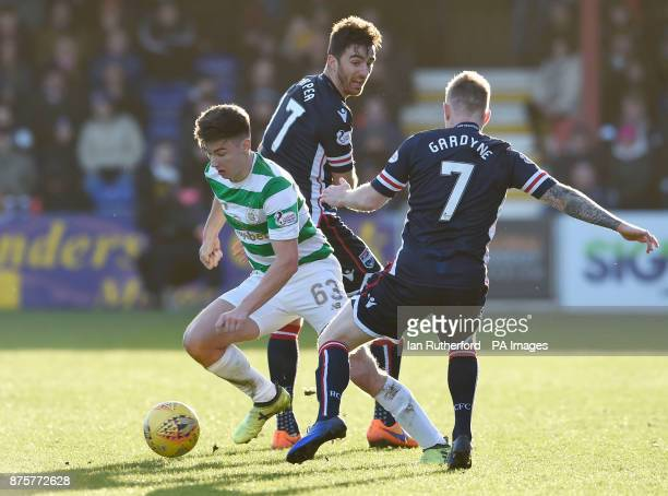 Celtic's Kieran Tierney beats Ross County players Ross Draper and Michael Garden as Scott Brown looks on during the Ladbrokes Scottish Premiership...
