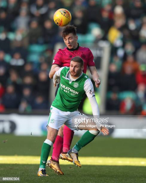 Celtic's Kieran Tierney challenges Hibernian's Martin Boyle during the Ladbrokes Scottish Premiership match at Easter Road Edinburgh