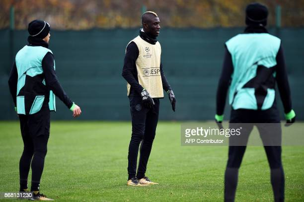 Celtic's Kouassi Eboue looks on during a training session at the Celtic Training Centre in Lennoxtown Scotland on October 30 on the eve of their UEFA...