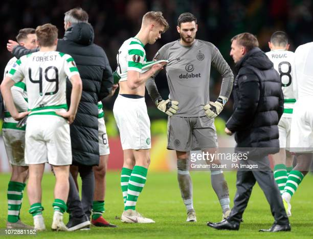 Celtic's Kristoffer Ajer and Craig Gordon appear dejected alongside manager Brendan Rodgers after the UEFA Europa League Group B match at Celtic Park...