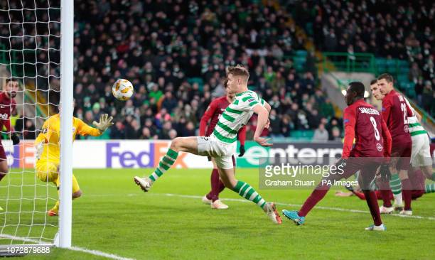 Celtic's Kristoffer Ajer shoots wide during the UEFA Europa League Group B match at Celtic Park Glasgow