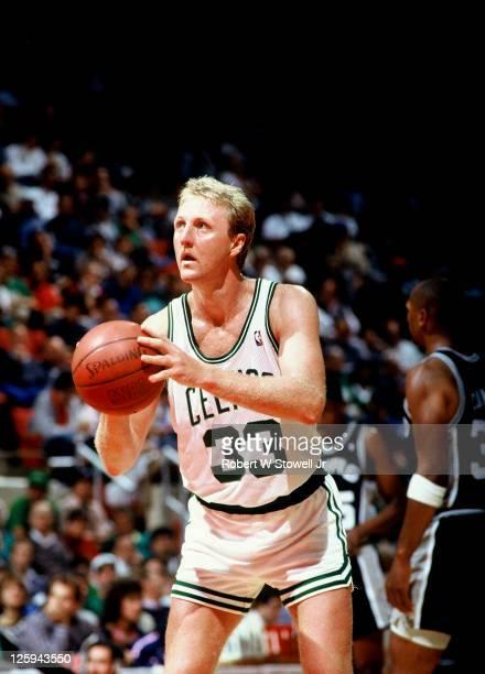 Celtics Larry Bird shoots a foul shot against the San Antonio Spurs Hartford CT 1992