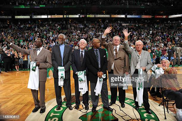 Celtics legends Tom Satch Sanders Bill Russell Frank Ramsey Sam Jones Tommy Heinsohn Bob Cousy and Jim Loscutoff members of the 1962 Championship...