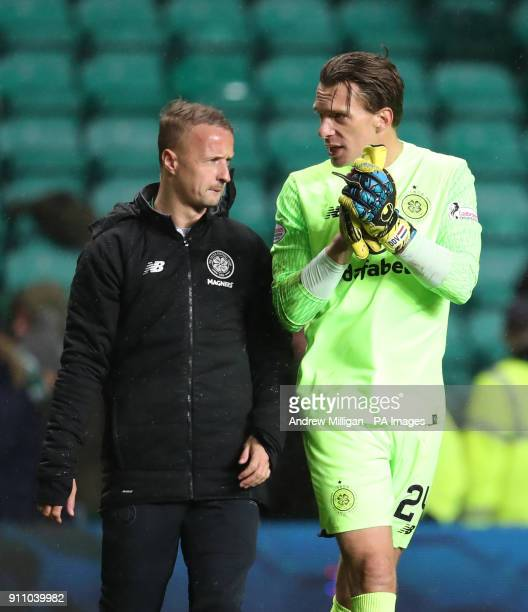 Celtics Leigh Griffiths and goalkeeper Dorus de Vries at full time after the Ladbrokes Scottish Premiership match at Celtic Park Glasgow