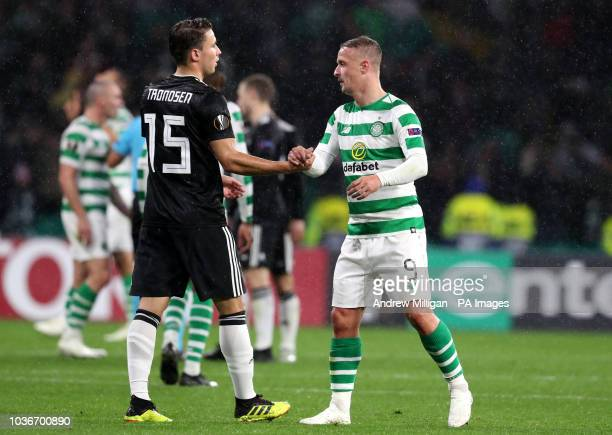 Celtic's Leigh Griffiths and Rosenborg's Anders Trondsen shake hands after the UEFA Europa League Group B match at Celtic Park Glasgow