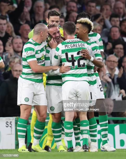 Celtic's Leigh Griffiths celebrates scoring his side's first goal of the game with teammates during the UEFA Europa League PlayOff Second Leg match...