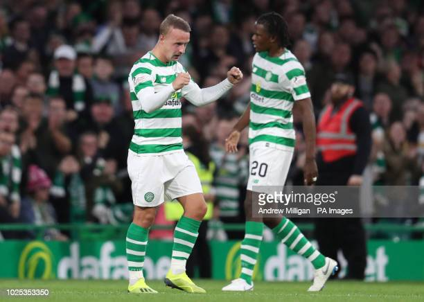 Celtics Leigh Griffiths celebrates scoring his side's first goal of the game during the UEFA Europa League PlayOff Second Leg match at Celtic Park...