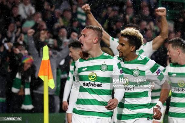 Celtic's Leigh Griffiths celebrates scoring his side's first goal of the game during the UEFA Europa League Group B match at Celtic Park Glasgow