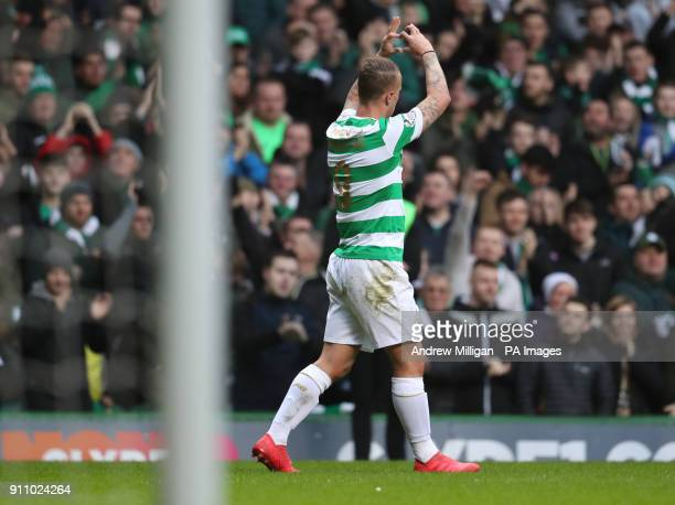 Celtic's Leigh Griffiths celebrates scoring his side's first goal of the game during the Ladbrokes Scottish Premiership match at Celtic Park Glasgow