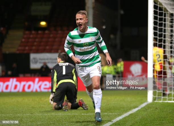 Celtic's Leigh Griffiths celebrates scoring his side's second goal of the game during the Ladbrokes Premiership match at Firhill Stadium Glasgow