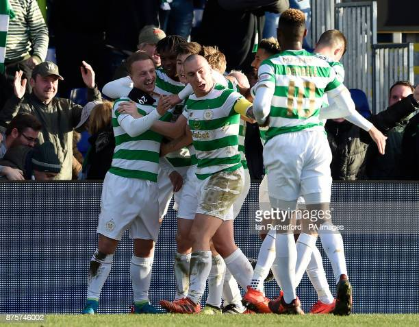 Celtics Leigh Griffiths celebrates with Dedryck Boyata Kieran Tierney and Scott Brown after scoring his side's first goal of the game during the...