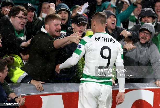 Celtic's Leigh Griffiths celebrates with fans after scoring his side's first goal of the game during the UEFA Europa League Group B match at Celtic...