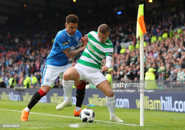Celtic's Leigh Griffiths challenges Rangers James Tavernier during the William Hill Scottish Cup semi final match at Hampden Park Glasgow