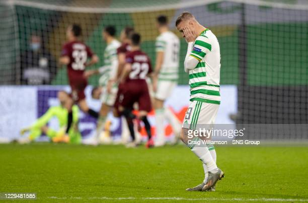 Celtic's Leigh Griffiths is dejected as his side concede a 4th during the UEFA Europa League match between Celtic and Sparta Prague at Celtic Park,...
