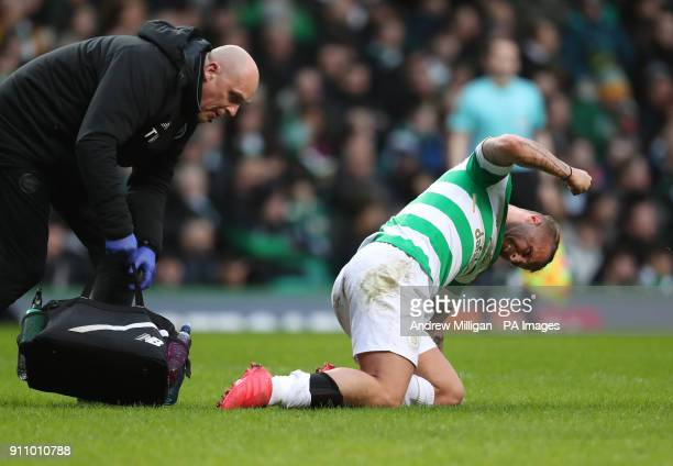 Celtic's Leigh Griffiths reacts after being forced off with an injury during the Ladbrokes Scottish Premiership match at Celtic Park Glasgow
