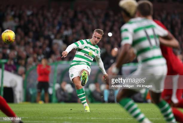 Celtic's Leigh Griffiths scores his side's first goal of the game during the UEFA Europa League PlayOff Second Leg match at Celtic Park Glasgow