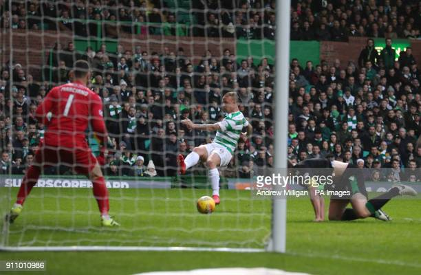 Celtic's Leigh Griffiths scores his side's first goal of the game during the Ladbrokes Scottish Premiership match at Celtic Park Glasgow