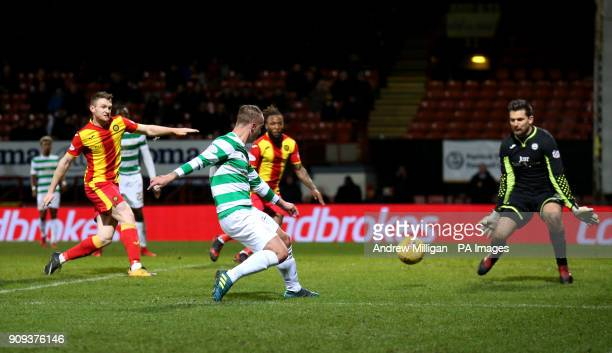 Celtic's Leigh Griffiths scores his side's second goal of the game during the Ladbrokes Premiership match at Firhill Stadium Glasgow