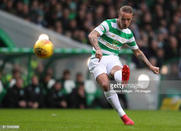 Celtic's Leigh Griffiths shoots on goal during the Ladbrokes Scottish Premiership match at Celtic Park Glasgow