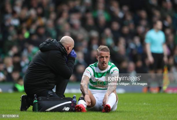 Celtic's Leigh Griffiths sits injured during the Ladbrokes Scottish Premiership match at Celtic Park Glasgow