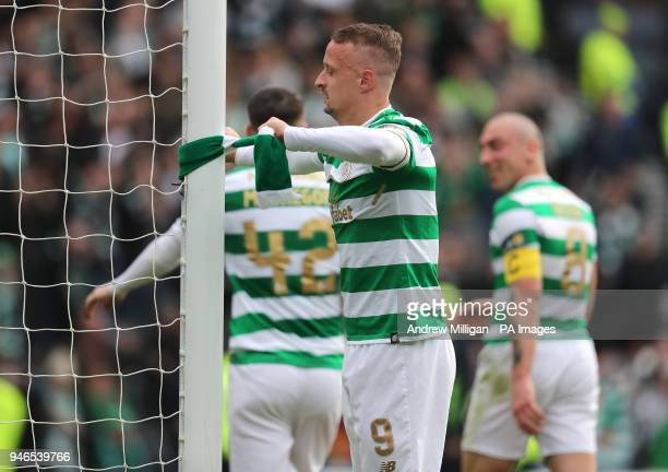 Celtic's Leigh Griffiths ties a scarf to the goalpost after the William Hill Scottish Cup semi final match at Hampden Park Glasgow